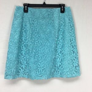 New York & Company Turquoise Floral Print Skirt